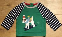 BABY BODEN GREEN CHRISTMAS SKIING DOG TOP  0-3 TO 12-18 MONTHS